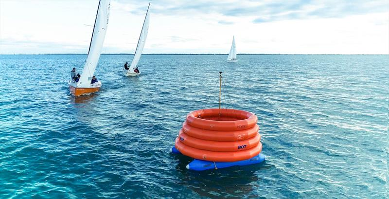 A MarkSetBot that's equipped with weather equipment for delivering real-time wind information to RaceOS photo copyright Image courtesy of MarkSetBot taken at Crescent Sail Yacht Club and featuring the Sabot class