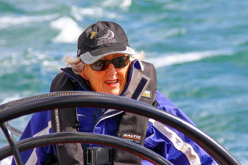 Jo Gladwell (1922-2019) long time America's Cup fan - sailing on an IACC yacht in Auckland the day before her 90th birthday. photo copyright Richard Gladwell Sail-World.com taken at Takapuna Boating Club and featuring the  class