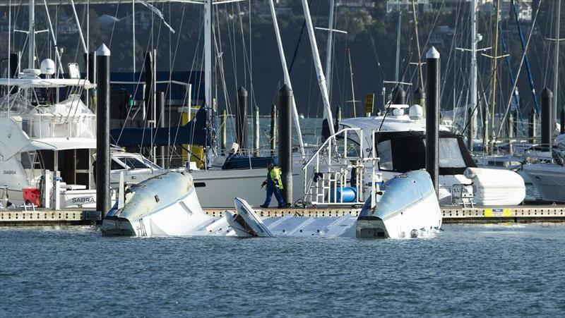 The 50ft cruising catamaran was picked up on one side of the marina, blown across the Pier and dumped upside down on the other side photo copyright Chris McKeen / Stuff taken at  and featuring the  class