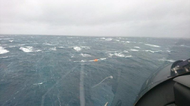 The liferaft is raked by five metre seas after the sailors yacht sank 20nm east of Cape Brett yesterday in winds gusting to 60kts. - photo © Auckland Rescue Helicopter Trust