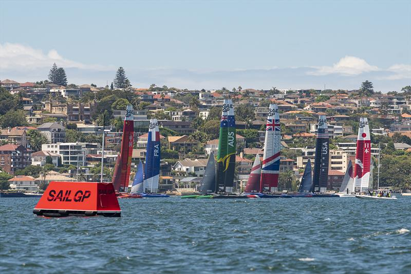 SailGP Practice race day. Six F50s line up. - photo © © Chris Cameron / SailGP
