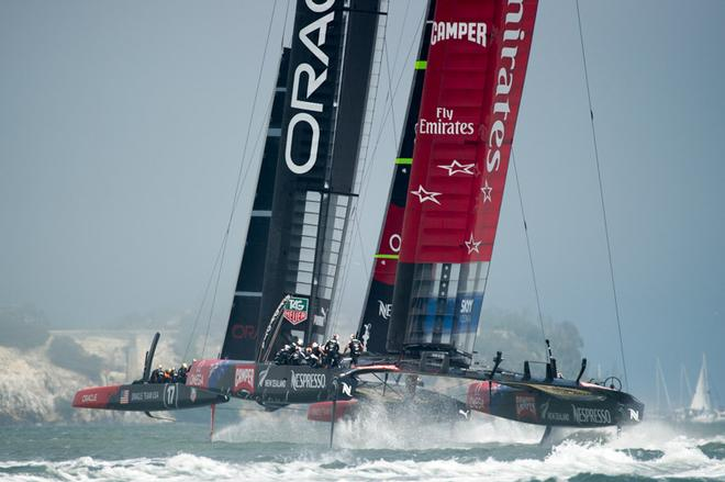 Emirates Team New Zealand and Oracle Team USA. Race three of the America's Cup 34 in San Francisco on day two. 8/9/2013 © Chris Cameron/ETNZ http://www.chriscameron.co.nz