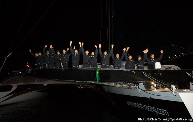 Maxi Spindrift 2 (trimaran) at the arrival of the Rolex Fastnet 2013, taking the first place ahead Banque Populaire. © Chris Schmid/Spindrift Racing