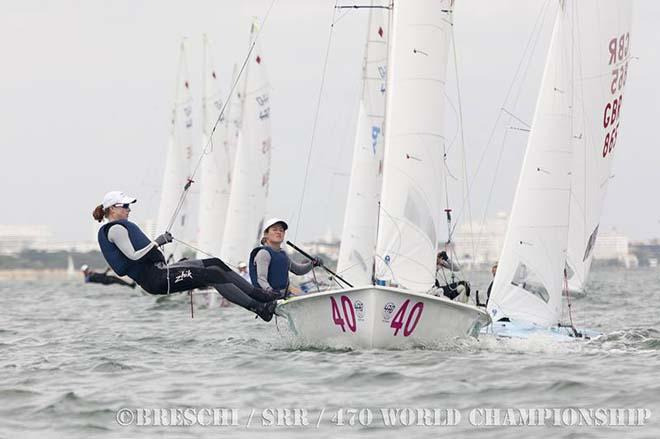 Elise Rechichi and Sarah Cook at the 470 World Championship 2013 ©  Breschi / SRR