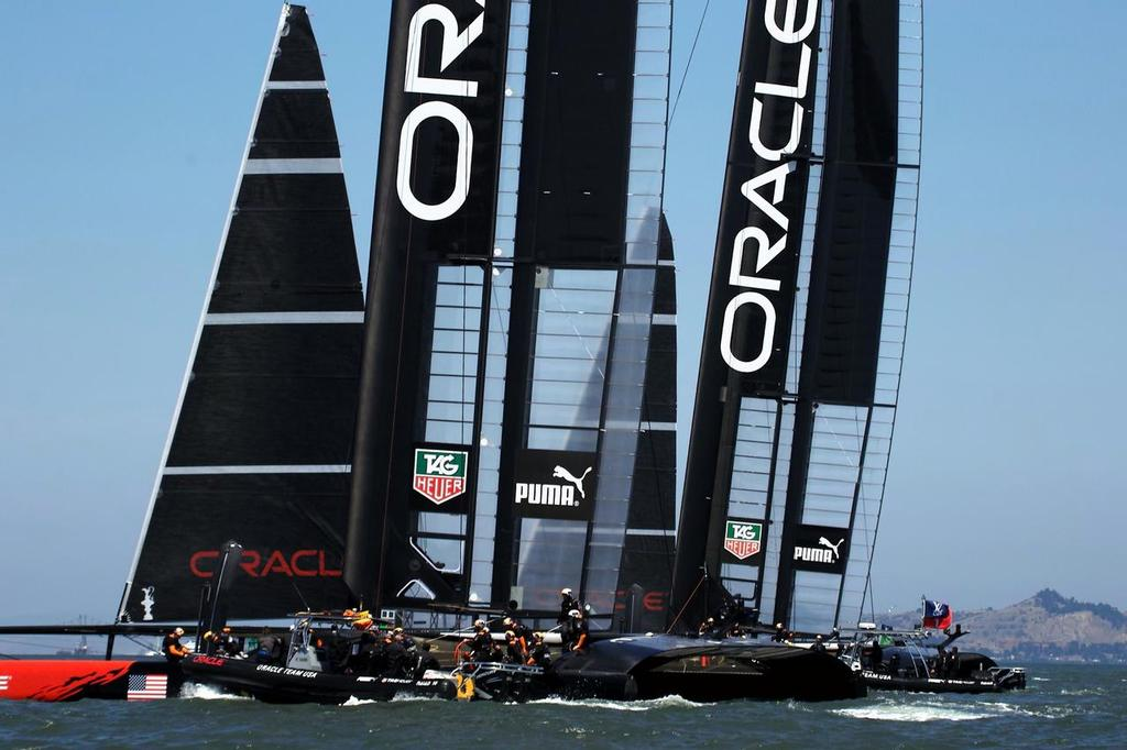 Oracle Team USA are running a traditional style, two boat campaign © Chuck Lantz http://www.ChuckLantz.com