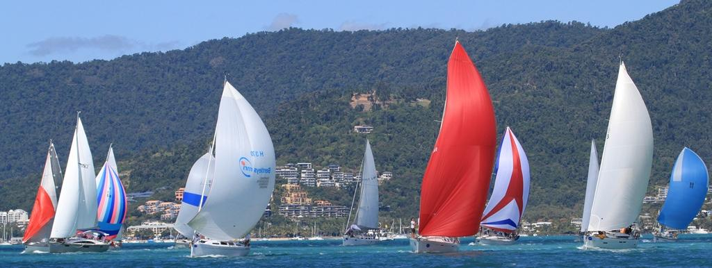 Airlie Beach Race Week 2013, Cruising Div II heading out to the Double Cones on race day one © Shirley Wodson