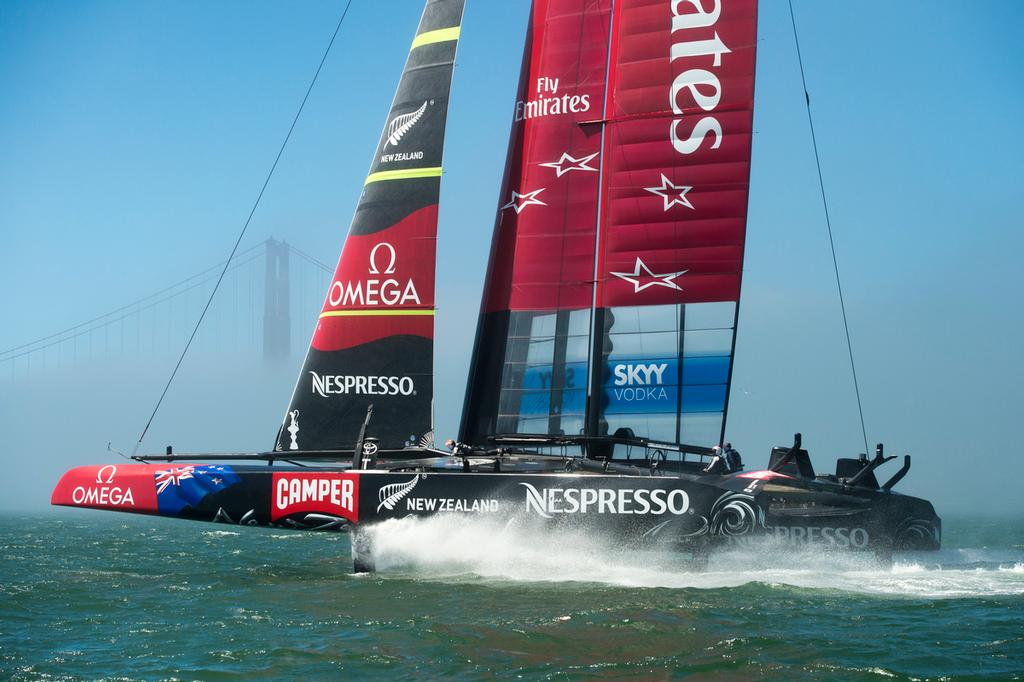 Emirates Team New Zealand's AC72, NZL5 practicing for the America's Cup for the first time after modifications. 30/8/2013. © Chris Cameron/ETNZ http://www.chriscameron.co.nz