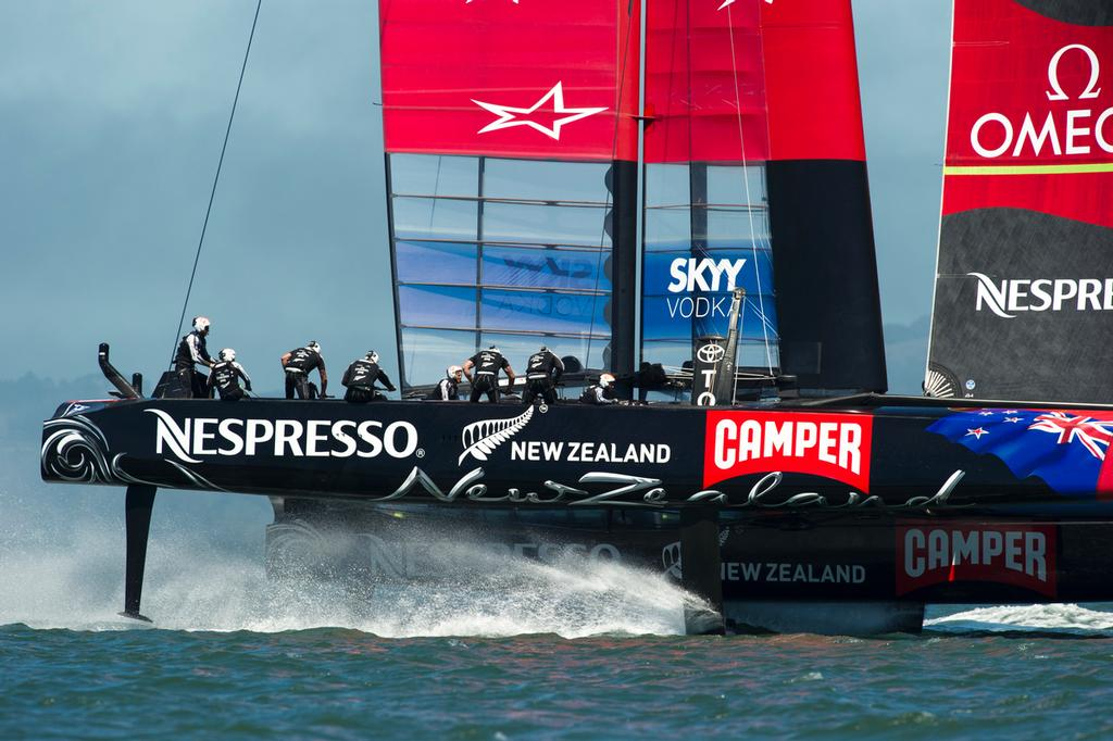 Emirates Team New Zealand's AC72, NZL5 practicing for the America's Cup for the first time after modifications. © Chris Cameron/ETNZ http://www.chriscameron.co.nz