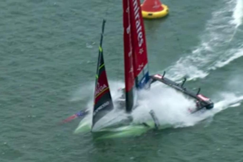 Emirates Team NZ dives deep on the penultimate leg of the Louis Vuitton Cup Final - Race 1 © SW