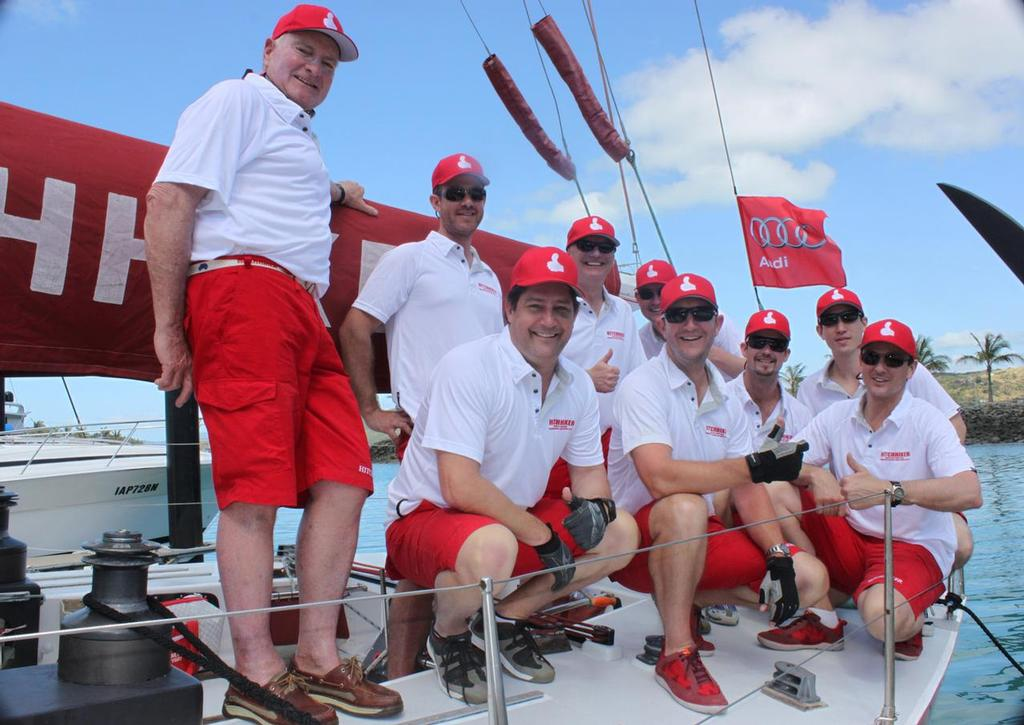 Hitchhiker crew Peter Briggs far left  - 2013 Audi Hamilton Island Race Week © Andrea Francolini_Audi and Laura McKee