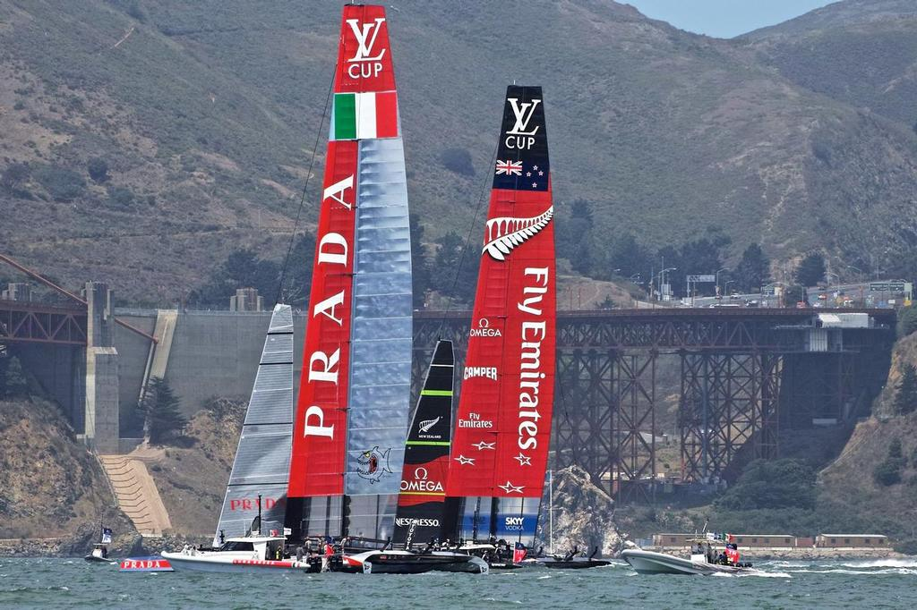 Emirates Team NZ and Luna Rossa wait for the start of Race 1 of the Final of the Louis Vuitton Cup © Chuck Lantz http://www.ChuckLantz.com