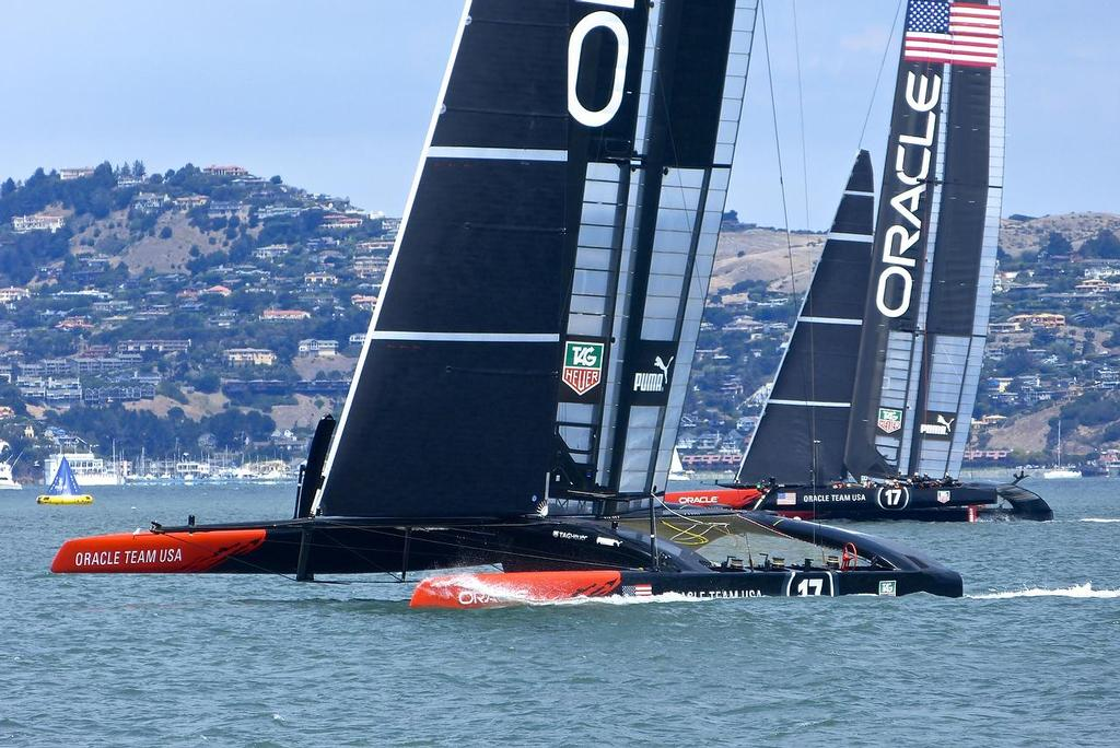 Oracle Team USA out training ahead of the first Semi-Final, Louis Vuitton Cup, San Francisco August 7, 2013 © John Navas