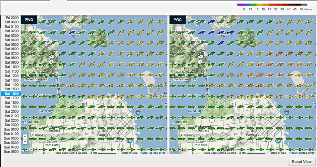 Wind map for September 7, 2013 San Francisco at 1500hrs - 18fters - Race 1 © PredictWind.com www.predictwind.com