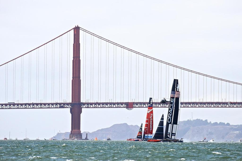 Oracle Team USA v Emirates Team New Zealand. America's Cup Day 3, San Francisco. Emirates Team NZ leads Oracle Team USA on Leg 3 of Race 5 under the shadow of Golden Gate Bridge © Richard Gladwell www.photosport.co.nz