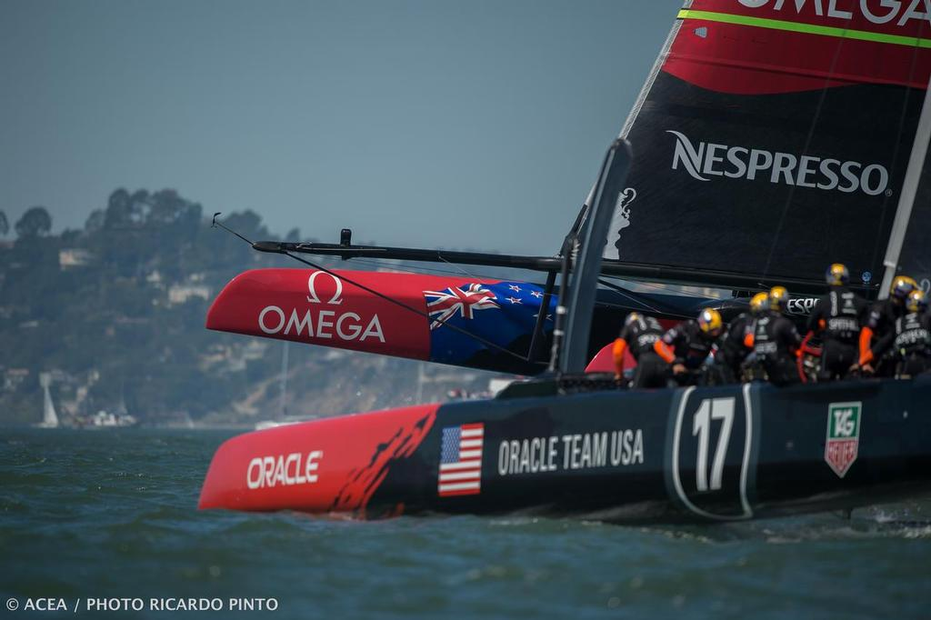 34th America's Cup - Race day 1; Oracle Team USA vs. Emirates Team New Zealand © ACEA / Ricardo Pinto http://photo.americascup.com/