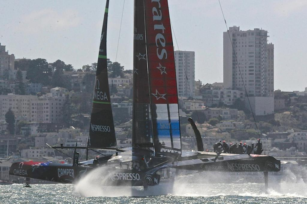 Emirates Team New Zealand finishes race 5 in first place at the Louis Vuitton Cup in San Francisco California on August 21, 2013,   ©  SW