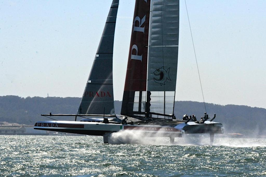 Luna Rossa in Match Race 5 of the Louis Vuitton Cup on August 21, 2013 in San Francisco California. ©  SW