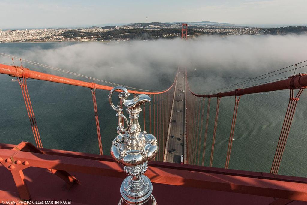 The America's Cup Trophy at the top of Golden Gate Bridge © ACEA - Photo Gilles Martin-Raget http://photo.americascup.com/