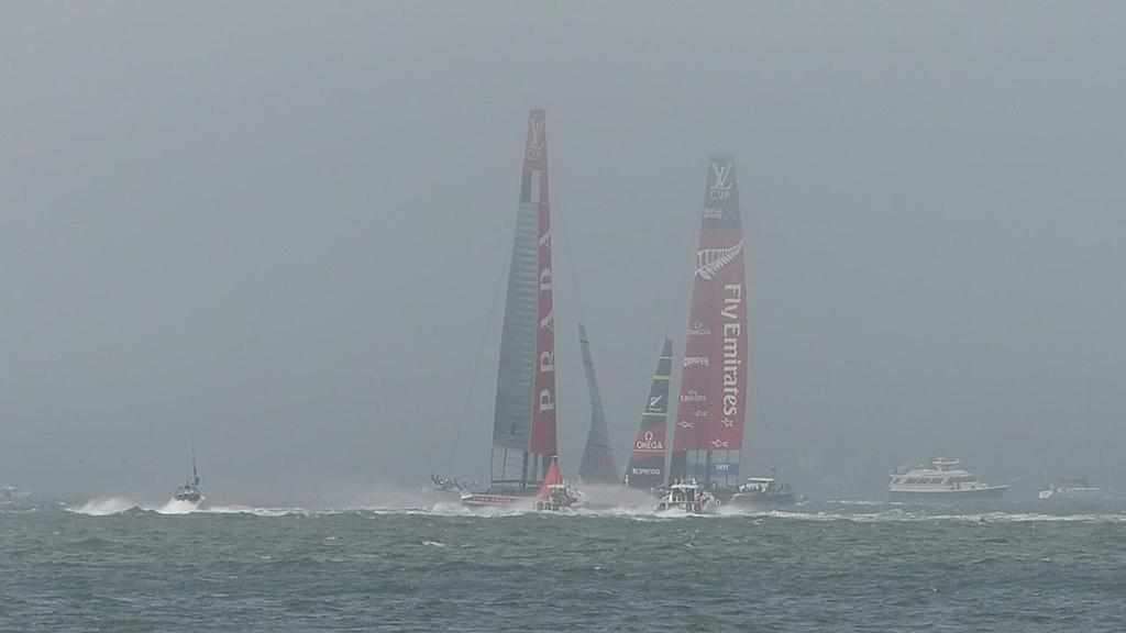 Emirates Team NZ and Luna Rossa in the fog on San Francico Bay on Day 2 of the Finals of the Louis Vuitton Cup © John Navas