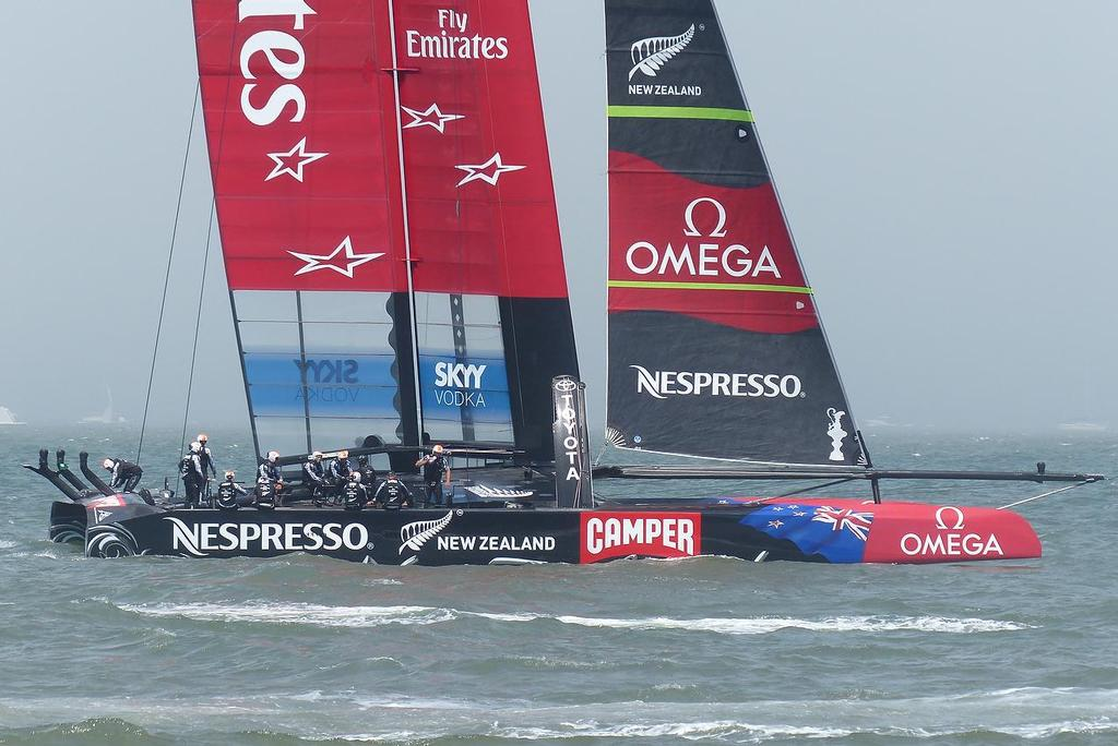 Emirates Team NZ stopped after withdrawing from Race 2 of the Louis Vuitton Cup Final © John Navas