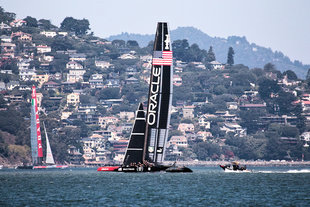 Luna Rossa and Oracle on the Marin side of the SF bay. - America's Cup © Chuck Lantz http://www.ChuckLantz.com