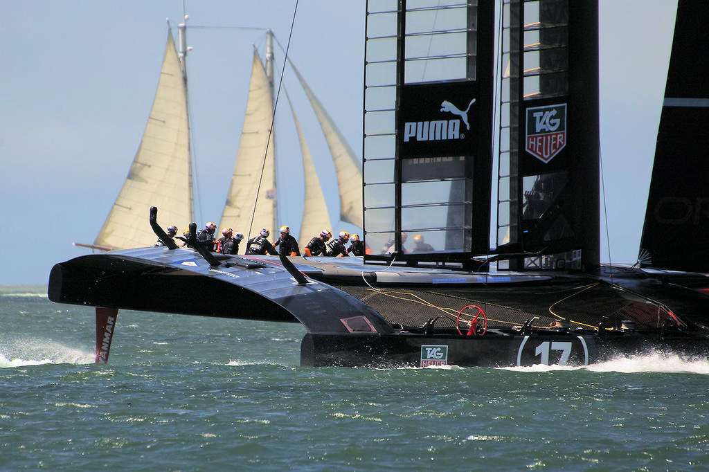 Another Oracle photo op, with Troy Sears' replica of the yacht America - America's Cup © Chuck Lantz http://www.ChuckLantz.com