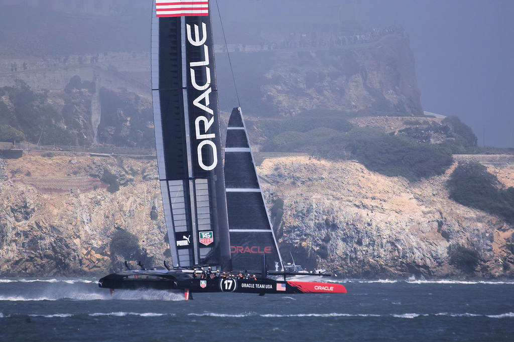 Oracle Team USA foiling - 34th America's Cup © Chuck Lantz http://www.ChuckLantz.com