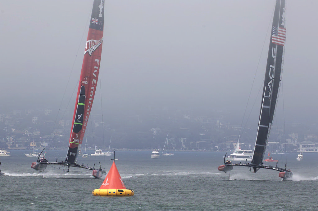 Rearview, Oracle Team USA and Emirates Team NZ - America's Cup © Chuck Lantz http://www.ChuckLantz.com
