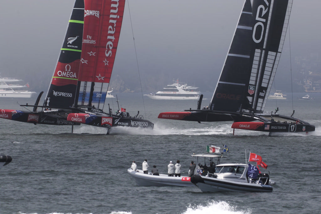 Oracle and Emirates Team NZ in action - America's Cup © Chuck Lantz http://www.ChuckLantz.com