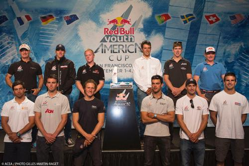 Red Bull Youth America's Cup - Opening Press conference, Top : Romand Hagara (Sport Director), Jason Waterhouse (AUS), Arthur Ponroy (FRA), Philip Buhl (GER), Peter Burling (NZL), Hans Peter Steinacher (Sport Director). Bottom:  Antonio Mello (POR), William Tiller (NZL), Charlie Ekberg (SUE),  Lucien Cujean (SUI), Michael Menninger (USA), Charlie Buckingham (USA). © ACEA - Photo Gilles Martin-Raget http://photo.americascup.com/