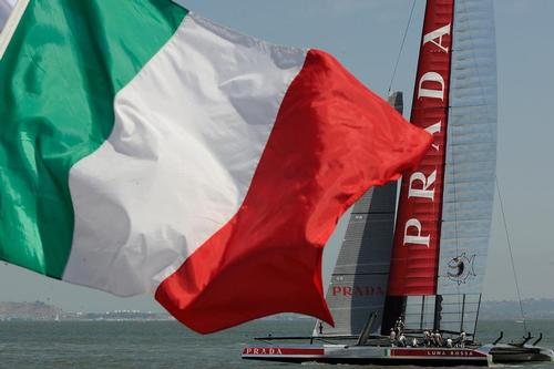 Luna Rossa before the racing starts on August 21, 2013 at the Louis Vuitton Cup on August 21, 2013 in SF California. ©  SW