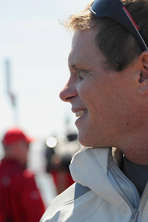 Chris Draper, helmsman of Luna Rossa, is happy the morning of the 7th race of the Louis Vuitton final before he goes out to sail on August 24, 2013  ©  SW