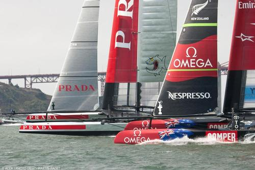 Luna Rossa to windward of Emirates Team NZ - Louis Vuitton Cup Final, Day 3 © ACEA - Photo Gilles Martin-Raget http://photo.americascup.com/
