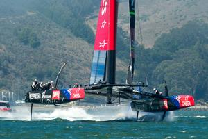 Emirates Team New Zealand's AC72, NZL5 practicing for the America's Cup for the first time after modifications. 30/8/2013. photo copyright Chris Cameron/ETNZ http://www.chriscameron.co.nz taken at  and featuring the  class
