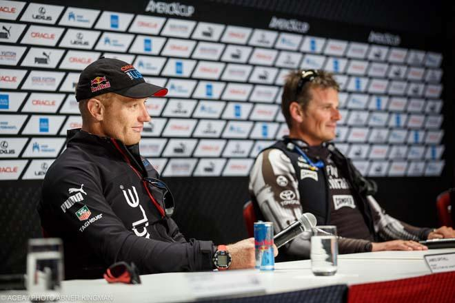 Oracle Team USA's Jimmy Spithill and Emirates Team New Zealand's Dean Barker © ACEA / Photo Abner Kingman http://photo.americascup.com
