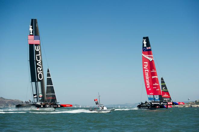 Emirates Team New Zealand leads Oracle Team USA down the first run. Race eight on day five of the America's Cup 34. 14/9/2013 © Chris Cameron/ETNZ http://www.chriscameron.co.nz