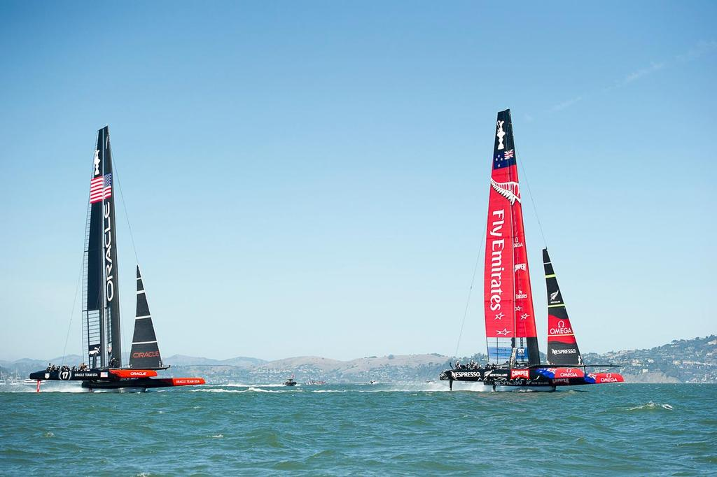 Emirates Team New Zealand NZL5 leads Oracle Team USA on the second leg of race 11 on day seven of America's Cup 34 © Emirates Team New Zealand http://www.etnzblog.com