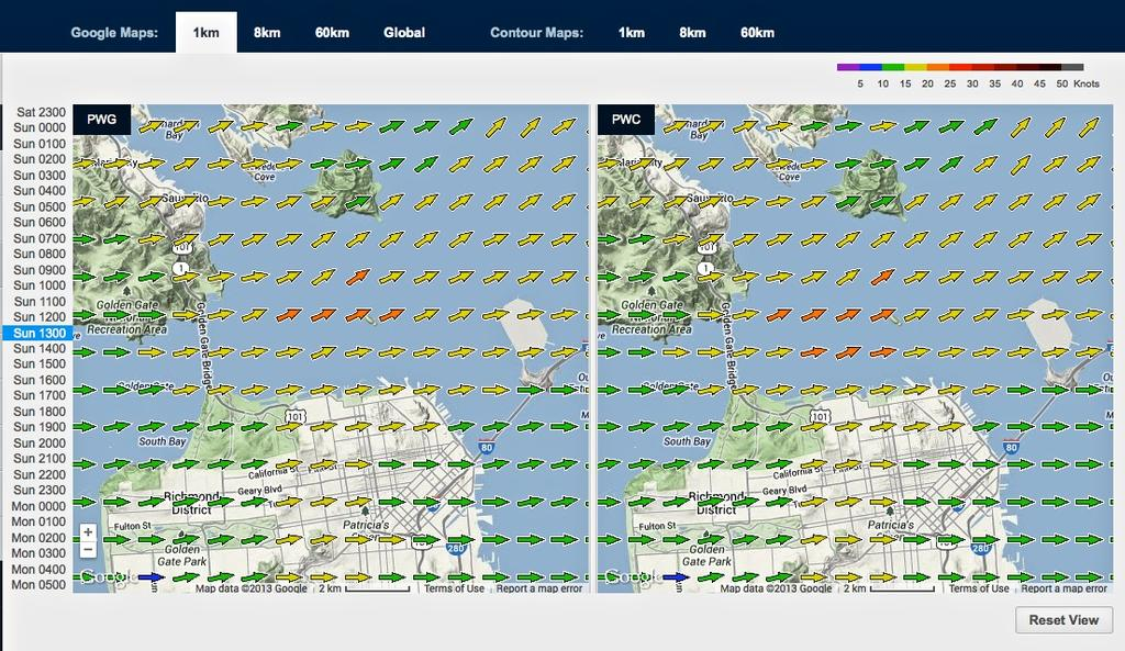 Wind map for September 15, 2013 San Francisco at 1315hrs - Start of Race 9 © PredictWind.com www.predictwind.com