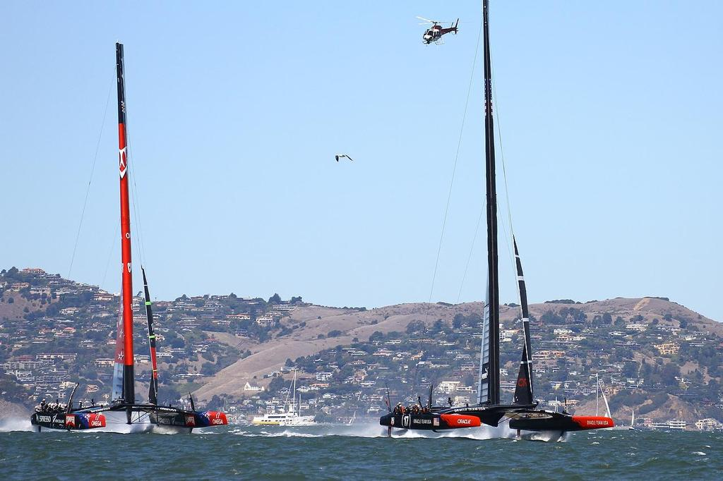Oracle Team USA v Emirates Team New Zealand. America's Cup Day 6 San Francisco. Emirates Team NZ trails Oracle Team USA to the first Mark in Race 9 © Richard Gladwell www.photosport.co.nz