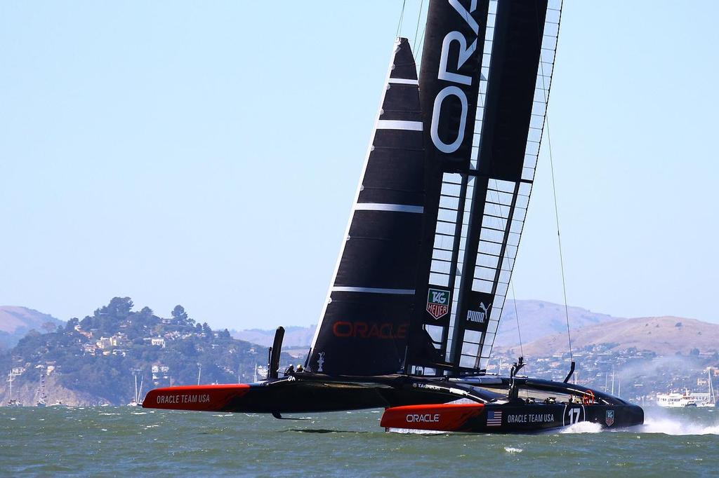 Oracle Team USA v Emirates Team New Zealand. America's Cup Day 6 San Francisco. Oracle Team USA heads for the finish of Race 9 © Richard Gladwell www.photosport.co.nz