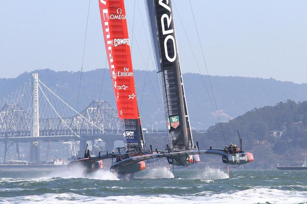 America's Cup Day 8 San Francisco. Emirates Team NZ leads Oracle sam USA just after Mark 1 of race 11 - photo © Richard Gladwell www.photosport.co.nz