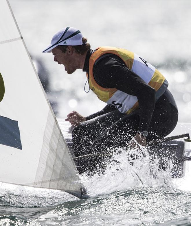 Tom Slingsby during the medal race at the London 2012 Olympic Sailing Competition © Carlo Borlenghi/FIV - copyright