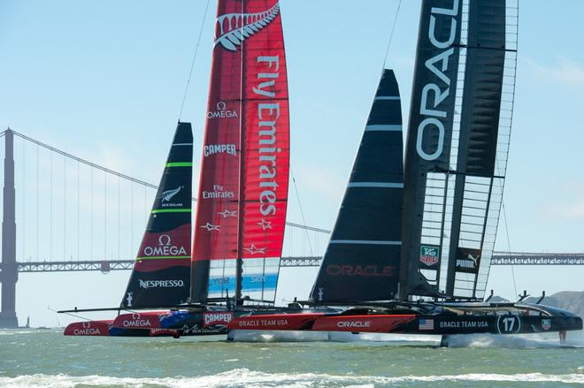 Emirates Team New Zealand and Oracle Team USA start race 15 on Day 12 of America's Cup 34. Oracle Team USA had port entry and went on to win after leading at Mark 1 © Chris Cameron/ETNZ http://www.chriscameron.co.nz