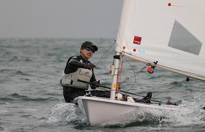 China's Lijia Xu works hard in the breeze © ISAF
