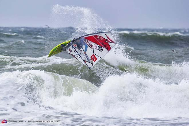 Fernandez backside air - PWA Cold Hawaii World Cup 2013 ©  John Carter / PWA http://www.pwaworldtour.com