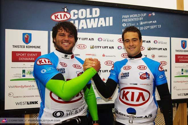 Koster and Brawzi celebrate together - PWA Cold Hawaii World Cup 2013 ©  John Carter / PWA http://www.pwaworldtour.com