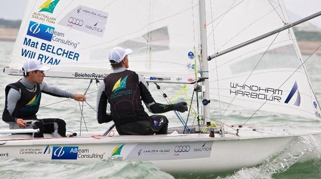 Mathew Belcher and Will Ryan sail training. © Bronwen Ince/SYC