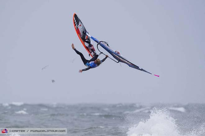 Onwards and upwards for Jules Denel - PWA Cold Hawaii World Cup 2013 ©  John Carter / PWA http://www.pwaworldtour.com