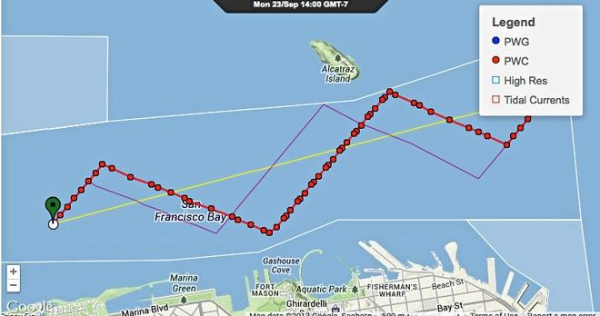 Downwind course projection September 23, 2013 - faint purple line is for Race 16, Red dotted line is for Race 17 © PredictWind.com www.predictwind.com