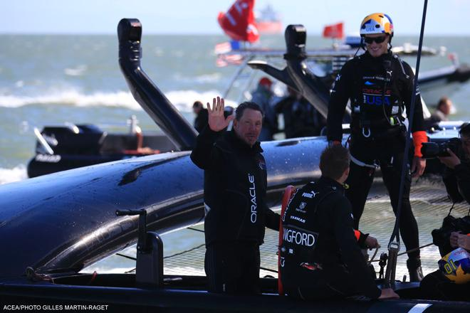 25/09/2013 - San Francisco (USA,CA) - 34th America's Cup - Oracle Team USA, Larry Ellison, Jimmy Spithill and Kyle Langford © ACEA - Photo Gilles Martin-Raget http://photo.americascup.com/